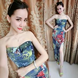 Blauw apart geprinte maxi jurk
