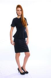 Zwart peplum midi jurk