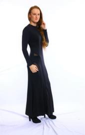 Zwarte fishtail maxi jurk