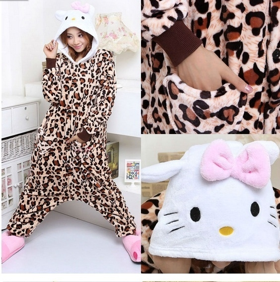 Leopard Hello Kitty onesie, onepiece, jumpsuit, pyjama.
