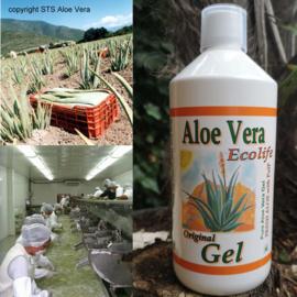 1 fles Aloe vera Gel - puur - met vezels & pulp