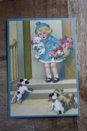 "ansichtkaart met glitter "" meisje met de hondjes"""