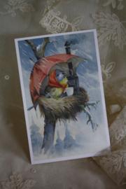 """schattig kaartje """"schuilen voor de regen"""""""