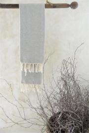 handdoek met franje in grijs/creme