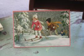 """ansichtkaart """" Op de ski!"""""""