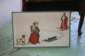 """ansichtkaartje """"Kijk daar is de kerstman!"""""""