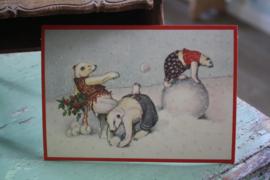 """ansicht kaart met glitter """" IJsbeer stoeien"""""""