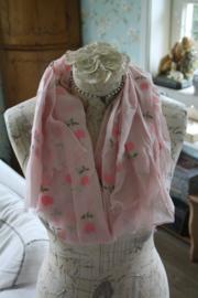 vrolijke sjaal met tulpjes in roze