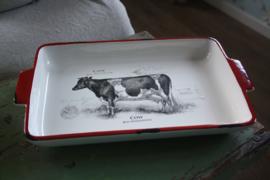 serveerschaal met koe