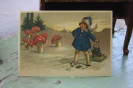 """ansichtkaart met glitters """"kadootjes voor de paddenstoelen"""""""
