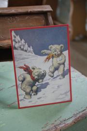 """mooie ansichtkaart : beertjes spelen in de sneeuw"""""""