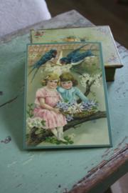 """ansicht kaart met glitter """" meisjes en de zwaluwen"""""""