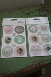 """set van 4 sticker vellen """"Live"""""""