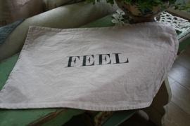 """mooie jeans placemat met tekst """"Feel"""""""