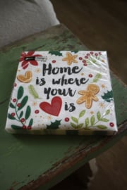 "papieren servetten ""Home is where your heart is"""