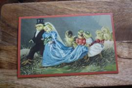 """schattg kaartje """"Het kuikentjesbruidspaar"""""""