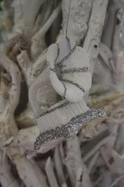 """kunststof hanger met zilverglitter """"grammefoon"""""""