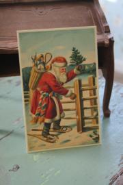 """ansichtkaartje  """"Santa brengt een kerstboompje"""""""