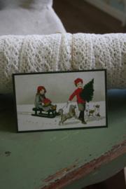 """schattig kaartje  """"spelen in de sneeuw"""""""