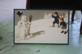 """ansichtkaartje """"Sneeuwbal gooien naar de sneeuwpop"""""""