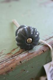 "porseleinen knop in champignon model ""petrolgrijs"""