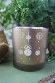 waxinelichtje met kerstdecoratie in brons M
