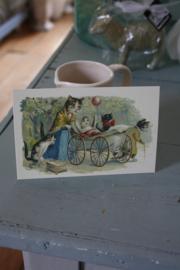 """schattig kaartje """"wandelen met de poesjes"""""""
