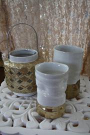 wit porseleinen vaas met goudkleurige afwerking S