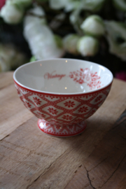 "Greengate french bowl medium ""Bianca Red"""