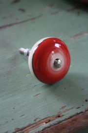 "porseleinen knop ""retro rood"""