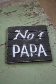"dunne houten onderzetter ""No 1 papa"""