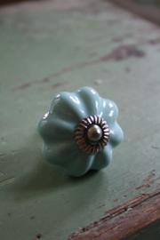 """mooie grote porseleinen knop """"gebloemd blauw"""""""