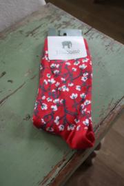 """heerlijke sokken """"Springtime red"""" maat 39-42"""