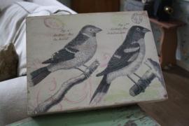 """houten wandbord met vogels """"2"""""""