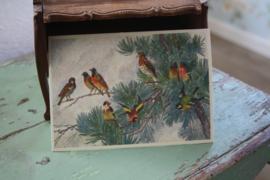 """ansichtkaart met glitter """"Vogeltjes in de boom"""""""