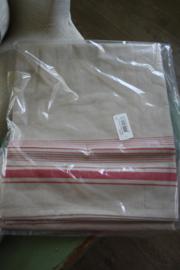 stoer katoenen tafelkleed in linnenlook met rode rand 150 x 250 cm