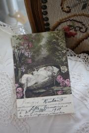 """ansichtkaart van handgeschept papier """" Slapen tussen de bloemen"""""""