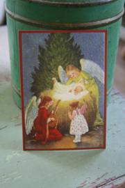"""ansichtkaart met glitter """"Engelen bij Kerstkind"""""""