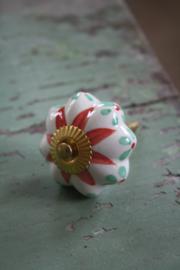 """porseleinen kastknop met goud kleurige schroef """" rood en groen"""""""