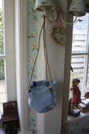 """stoffen planten tas aan touw """" oud blauw"""""""