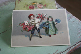 "ansichtkaart met glitter "" bloemenpost"""