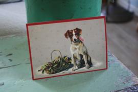 """ansichtkaart met glitter """"Hondje met een mand vol hulst"""""""
