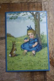 """ansichtkaart met glitter """" meisje met de blauwe jurk"""""""