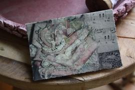 """mooie dubbele kaart van geschept papier """"romantisch"""""""