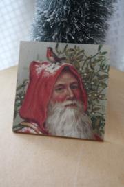 """houten onderzetter """"Kerstman in rood"""""""