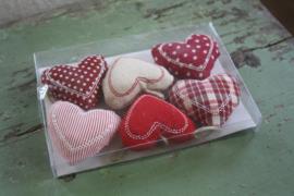 set van 6 stoffen hartjes
