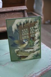 """ansicht kaart met glitter """"vogeltje voor het raam"""""""