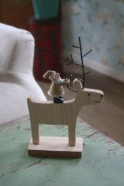 houten rendier met kerstman