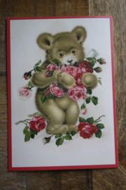 """ansichtkaart met glitter """"beertje met de bloemen"""""""