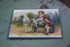 """ansichtkaart met glitter """"bloemen brengen met het paard"""""""